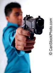 uomo, con, uno, gun.