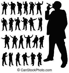 uomo, con, uno, sigaretta, in, vario, pose, nero, silhouette