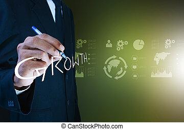 uomo, concetto, crescita, affari, scrittura