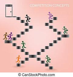 uomo, concorrenza, concetti, affari