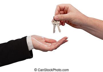 uomo, consegnare, donna, insieme chiavi