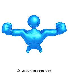 uomo, costruttore, forte, corpo