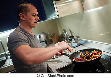 uomo, cottura, a casa, solo