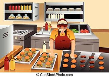 uomo, cottura, hamburger