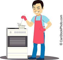 uomo, cottura, minestra