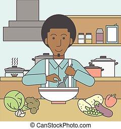 uomo, cottura, pasto.