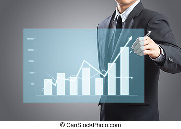 uomo, crescita, grafico, affari, disegno