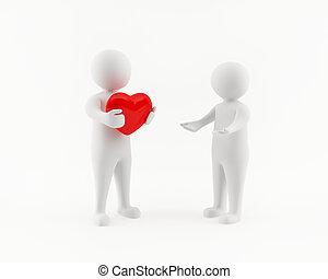 uomo, cuore, 3d, rosso, grande