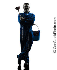uomo, custode, idraulico, silhouette