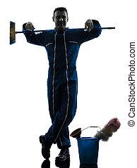 uomo, custode, pulitore, pulizia, silhouette