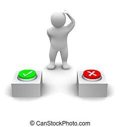 uomo, decidere, quale, bottone, a, press., 3d, reso, illustration.