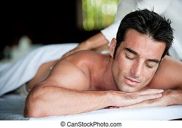 uomo, detenere, massaggio