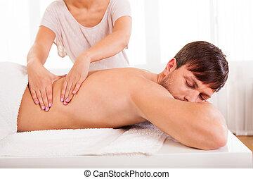 uomo, detenere, massaggio, indietro
