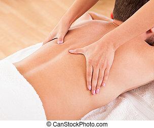 uomo, detenere, uno, massaggio posteriore