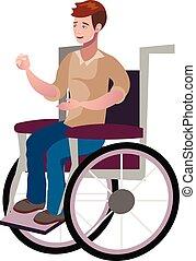 uomo disabled, giovane, wheelchair.