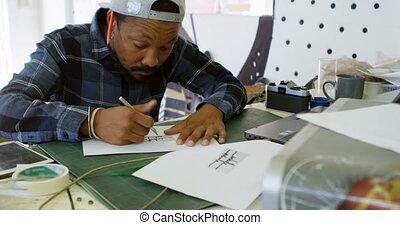 uomo, disegno, disegno, su, carta, 4k