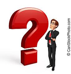 uomo, domanda, affari, marchio