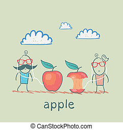uomo donna, ascoltando musica, su, cuffie, mela