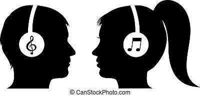 uomo donna, ascoltando musica