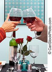 uomo donna, innalzamento vetri, di, vino