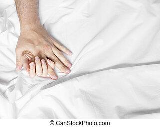 uomo donna, mani, sesso ha, su, uno, bed., fare, love.