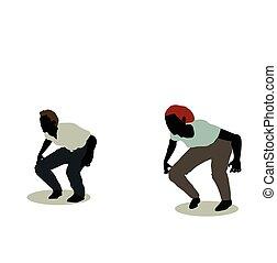 uomo donna, silhouette, in, animazione, saltare