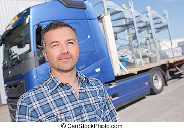 uomo, e, camion