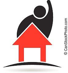 uomo, e, casa, proprietà, logotipo