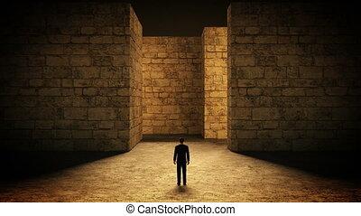 uomo, e, labirinto