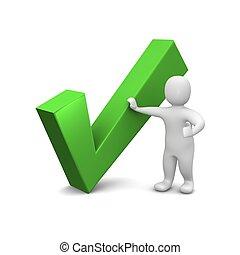 uomo, e, verde, assegno, mark., 3d, reso, illustration.