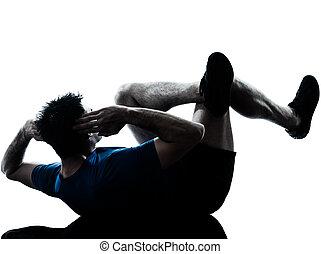 uomo esercita, allenamento, idoneità, posa