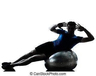 uomo esercita, allenamento, palla idoneità, posa