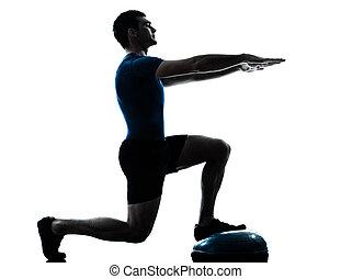 uomo esercita, bosu, allenamento, idoneità, posa