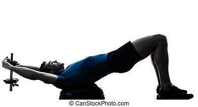uomo esercita, bosu, formazione peso, allenamento, idoneità, posa