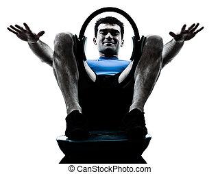 uomo esercita, bosu, pilates, anello, allenamento, idoneità, posa