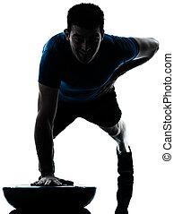 uomo esercita, bosu, spinta, ups, allenamento, idoneità, posa