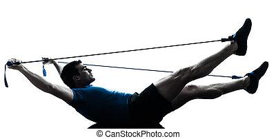 uomo esercita, gymstick, allenamento, idoneità, posa