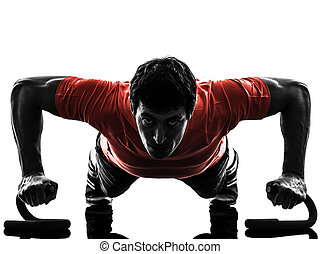 uomo esercita, idoneità, allenamento, spinta, ups, silhouette