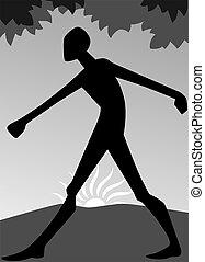 uomo, esercizio, camminare, do