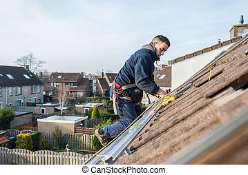 uomo, fabbricazione, costruzione, solare, pannelli