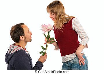 uomo, fiore, donna, dà