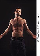 uomo, fondo, scuro, gesturing, shirtless