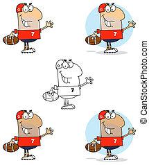 uomo, football, ondeggiare