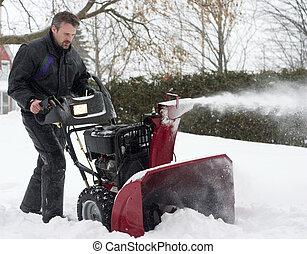 uomo, funzionante, neve, soffiatore