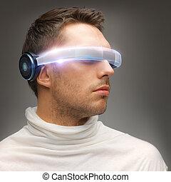 uomo, futuristico, occhiali