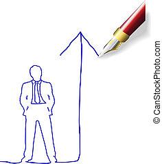 uomo, futuro, piano, successo, disegno