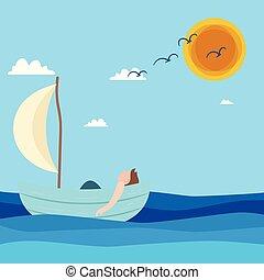 uomo, galleggiante, in, barca, blu, mare, sole, cielo, fondo, vettore, immagine