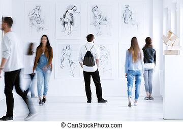 uomo, galleria, zaino