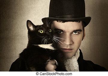 uomo, gatto
