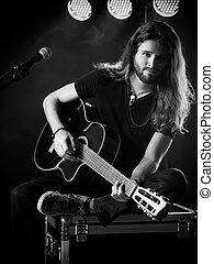 uomo, gioco, chitarra acustica, palcoscenico